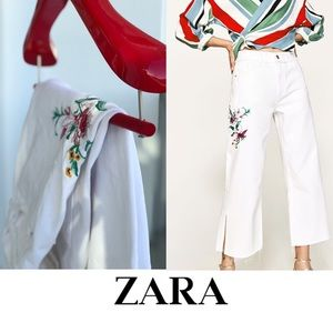 Zara embroidered high waisted cropped jeans
